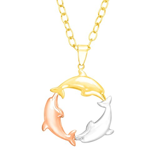 Tri-Color Dolphin Circle Pendant Necklace in 14K Three Tone Gold-Bonded Sterling Silver Tri Color Dolphin