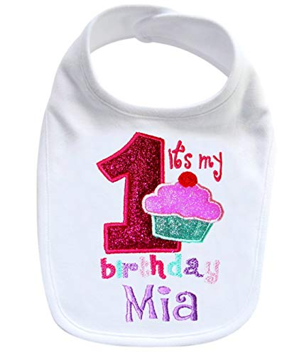 Embroidered Baby GIRL'S First Birthday SPARKLING CUPCAKE Year One Smash Bib with Custom Name (white)