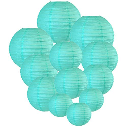 Just Artifacts Decorative Round Chinese Paper Lanterns 12pcs Assorted Sizes (Color: Turquoise)]()