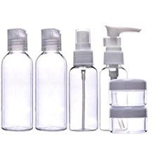 Set of 6 Empty Multiple Clear Cosmetics Plastic Packing Bottle Suit Travel Portable Small Liquid Container Makeup Toiletries