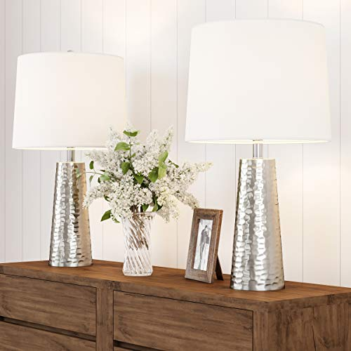 Lavish Home Table Lamps- Set of 2 Hammered Flared Drum Shaped Lights, Bulbs, Shades Included-Modern Rustic Style Accent Pieces for Any Home Decor
