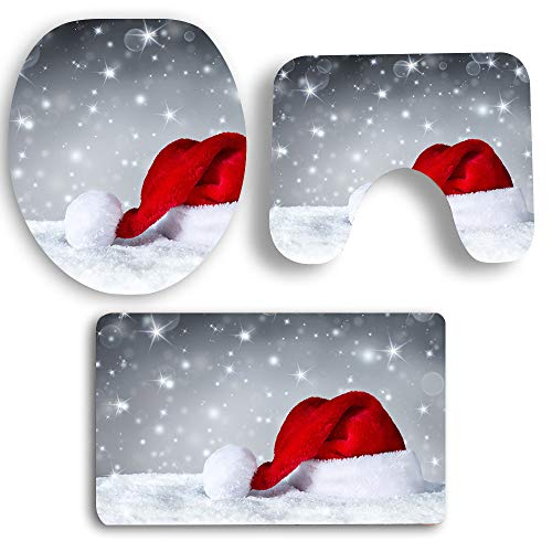 (Sunshinehomely 3-Piece Christmas Snowman Santa Bathroom Non-Slip Pedestal Rug + Toilet Seat Cover + Bath Mat Set Red Xmas Decorations (A))