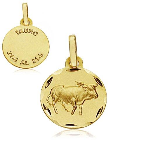 Médaille pendentif 13mm or 18k horoscope Taureau. signe du zodiaque [AA7405]