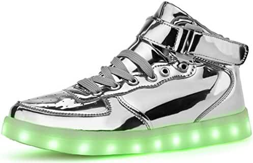 Poppin Kicks Unisex Adults LED Light Up Shoes Men Women Metallic Leather High Top Sneakers