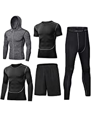 BUYJYA 5Pcs Men's Compression Pants Shirt Top Long Sleeve Jacket Set Fitness Suit
