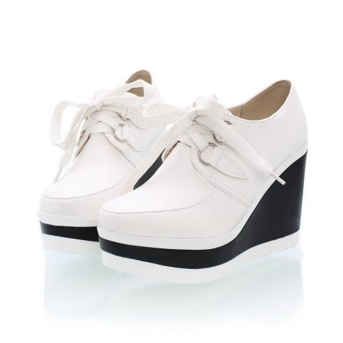 VogueZone009 Womens Closed Round Toe High Heel Wedges Platform PU Soft Material Assorted Colors Pumps White brwvnyNwVx
