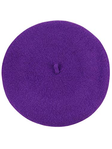 Small Purple Hat French - NYFASHION101 French Style Lightweight Casual Classic Solid Color Wool Beret, Purple