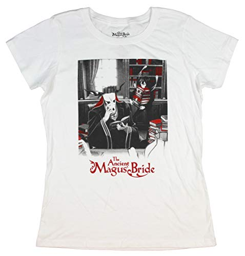 The Ancient Magus Bride Manga Shirt Juniors' Elias and Chise Officially Licensed Anime Character T-Shirt (2X-Large) - Womens Script T-shirt Series