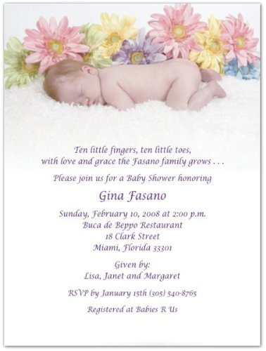 Invitations Shower Daisy Baby (Daisy's Dreaming Baby Shower Invitations - Set of 20)