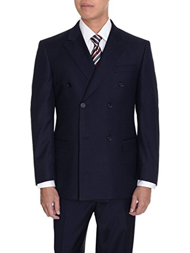 Giorgio Fiorelli GF47815 Men's Double Breasted Suit - Navy - 40R - Cashmere Breasted Double