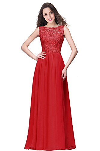 46 MisShow Festkleid Gr Spitzen Lang Ballkleider Rot Abendkleider Brautjungfernkleider 32 Ärmellos Damen zwqFZTx