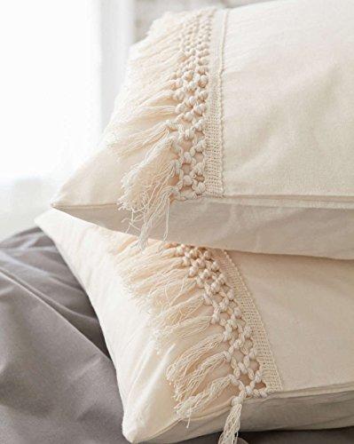 Tassel Sham Set Cotton Pillow Covers,18.9in x29.1in,Set of (2 Shams Bedding)