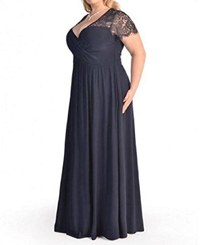 Size Neck Relaxed V Dress Sexy Evening Coolred Fit Long Plus Blue Purplish Lace Women fHxwtSIq0