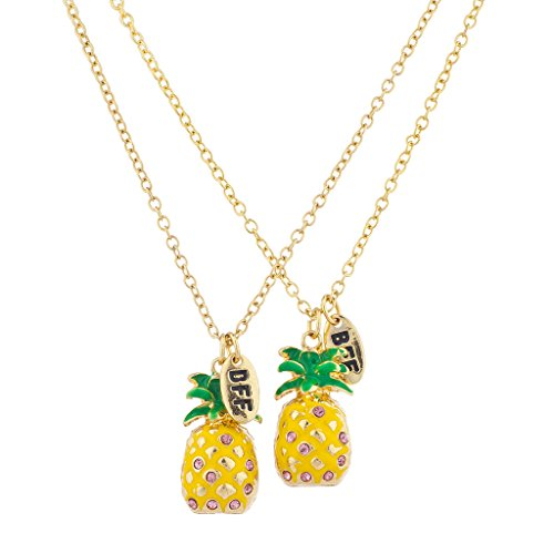 Lux Accessories Gold Tone Enamel Pineapple Rhinestone BFF Necklace ()