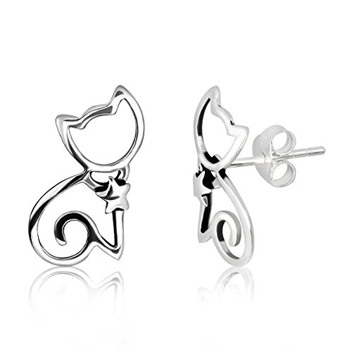 WithLoveSilver 925 Sterling Silver Cut Out Sitting Cat With Star Collar Stud Earrings