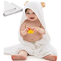 Super Soft Organic Bamboo Hooded Baby Towel with 2 Washcloths | Plush, Hypoal...