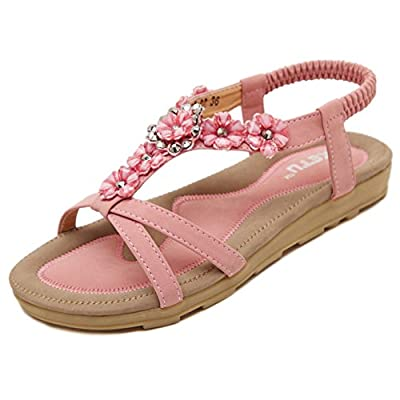 Noebo Women's Jeweled Flat Sandals Thong Sandles Flip Flops
