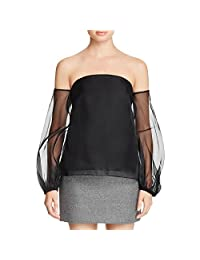 Milly Womens Gloria Silk Off-The-Shoulder Blouse