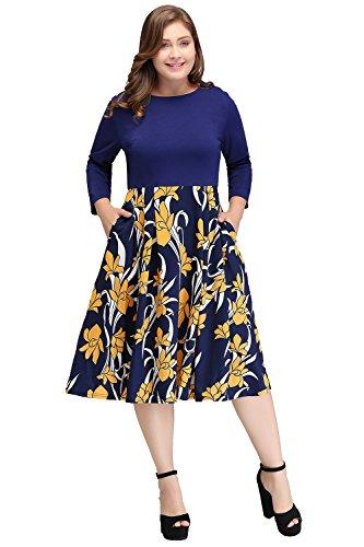 MisShow Women's Plus Size Vintage Floral Mother of The bride Dress