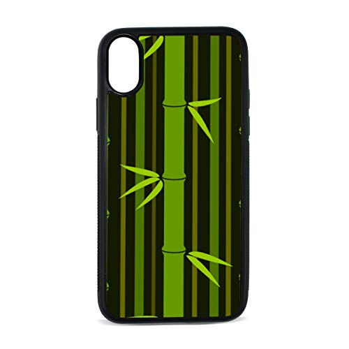 Case for Iphonex/xs Tropical Bamboo Branches Fresh Rainforest Jungle Exotic Nature Digital Print TPU Pc Pearl Plate Cover Phone Hard Case Cell Phone Accessories Compatible with Protective Case5.8Inch ()