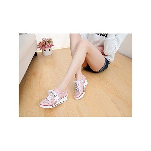 Tacon Mujer Zapatos Cordones Manera de Rosa de 7 la la Cerrado Cuna Lona de Ochenta Deporte z4w7aqFw