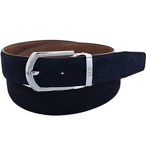 Men Suede Leather Belt with Detachable Buckle Blue 48