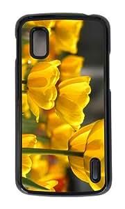 Google Nexus 4 Case,MOKSHOP Adorable yellow flowers petals buds Hard Case Protective Shell Cell Phone Cover For Google Nexus 4 - PC Black