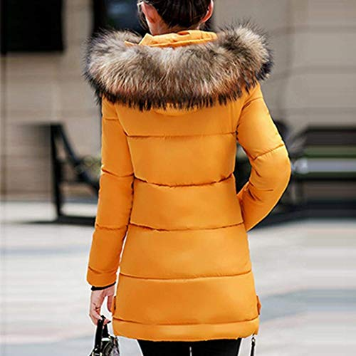 Cappotti Slim Lunga Piumini Eleganti Plus Con Sintetica Manica Estilo Especial Fit Prodotto Outerwear Giacca Fashion Cappuccio Caldo Gelb Trapuntata Pelliccia Donna Invernali rgnPrv