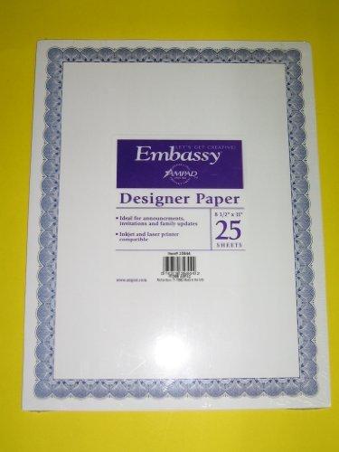 AmpadTM, Embassy®, Designer Paper, Invitations, Inkjet & Laser Printer Compatible, 8 1/2