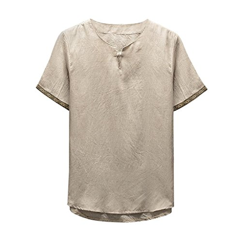 iOPQO T-Shirt for Men, Classic Flower Shirt Tops Short Sleeve Linen Blouse