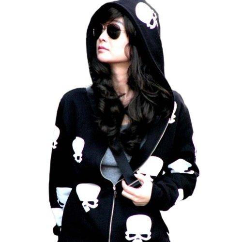 Meilaier Womens Fashion Skull Hoodies Outwear Zip Up Hooded Coats Jackets (M, Black)