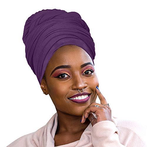 30 Colors| Novarena 1-4 Pc Solid Color Head Wrap Stretch Long Hair Scarf Turban Tie Kente African Hat Jersey Knit Headwrap (11. Purple) (Hippie Full Length Wrap Skirt)
