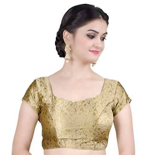 Chandrakala Women's Stretchable Readymade Lycra Gold Indian Ethnic Saree Blouse Crop Top Choli-2X-Large (B115GOL6) ()
