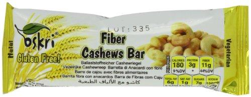 Oskri Fiber Bar, Cashews, 1.9-Ounce (Pack of 20)
