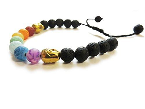 Stone Agate Precious Semi (Sea Of Light Bracelet 7 Chakra : Black Lava Stone with 7 Semi Precious Agate Stones & 2 Buddha Bracelet)