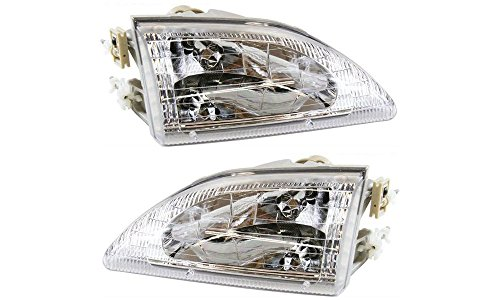 Evan-Fischer EVA13572056550 New Direct Fit Headlight Head Lamp Set of 2 Composite Crystal Clear Lens Halogen With Bulb(s) Driver and Passenger Side Replaces Partslink# FO2503161, FO2502161
