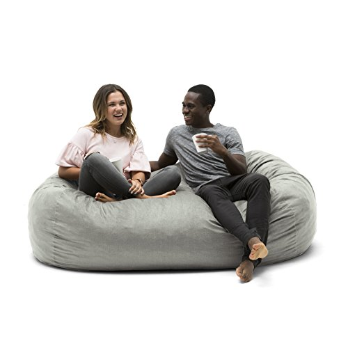 Big Joe 0002658 Media Lounger Foam Filled Bean Bag Chair, Fog Lenox