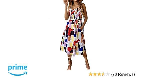 2036104a86e6 PRETTYGARDEN Women s Summer Sunflower Boho Spaghetti Strap Semi-Backless  Button Down A-Line Midi Dress with Belt and Pockets