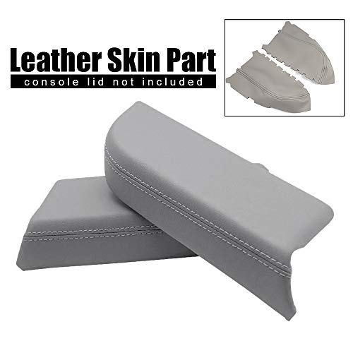 (Speedmotor Left Right Side Gray Leather Front Door Panels Center Comsoles Armrest Covers Replacement Fit for 2009-2013 Honda Pilot (Leather Part Only))