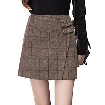 Wincolor Women's High Waisted Woolen Blend Plaid Checked Mini A-line Tartan Skirt Back Zipper