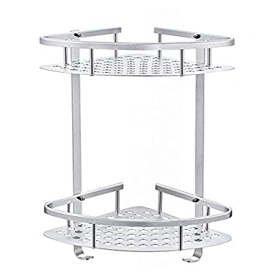 Gricol Bathroom Shower Shelf Wall Shower Caddy Space Aluminum Self Adhesive No Damage Wall Mount 2 Tier