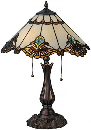 Design Toscano Victorian Parlor Tiffany-Style Stained Glass Table Lamp, Full Color