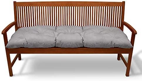 Beautissu Cojines para Bancos Flair BK 120x50x10 cm Cómodo Acolchado Banco de jardín/Columpio Hollywood Gris Claro