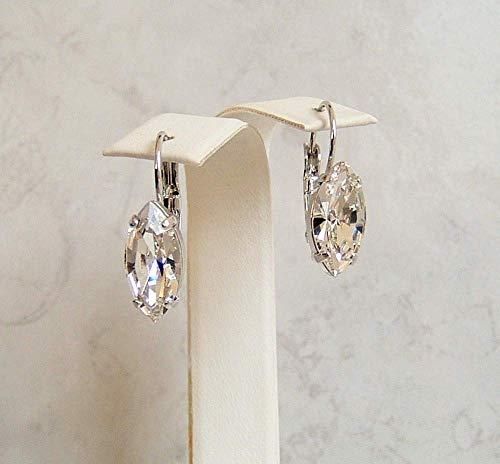 Versatile Marquise Crystal Leverback Earrings Simulated Diamond April Birthstone Gift Idea RP
