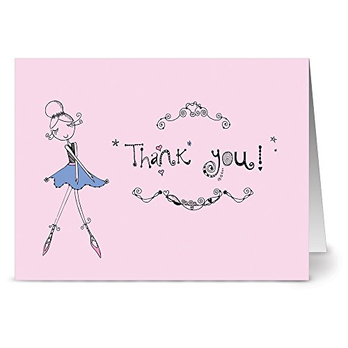 (Ballet Beauty Thank You - 36 Note Cards - Blank Cards - Plum Purple Envelopes Included)