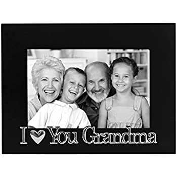 I Love You Grandma Picture Frame, Glass Front - Color: Black - Fits Photos 4x6 - Easel Back for Table Top Display