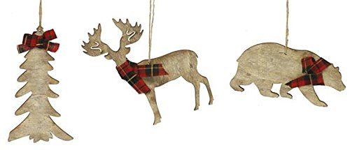 Rustic Christmas Ornaments Set - Wooden Deer, Bear and Evergreen Tree with Red Tartan Plaid Accents