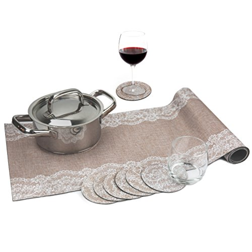 Jute Set Trivetrunner with Coasters :Decorative Trivet and Kitchen Table Runners with Cup Coasters Set Handles Heat Up to 300F, Anti Slip, Waterproof and Convenient for Hot Dishes and Pots