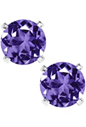 1.00 Ct Round 5mm Purple Amethyst 925 Sterling Silver Stud Earrings