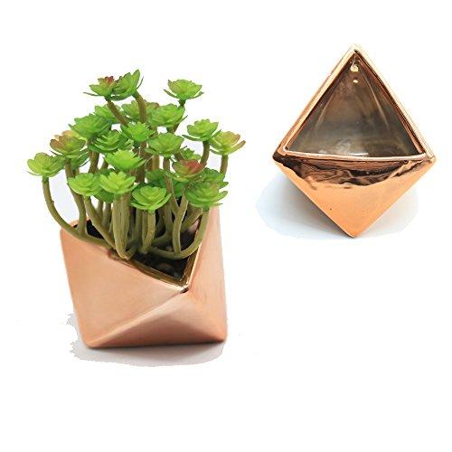 Purzest Succulent Planter, Ceramic Cactus Planter Modern Home Decor Air Plant Pot, 3 Inch Copper Color 2 Set ()